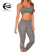 2 Piece Set Women Tracksuit Summer Sexy Casual Crop Top and Leggings Sportwear Gray Halter Camis Pants Suits Hollow Out 2017 New