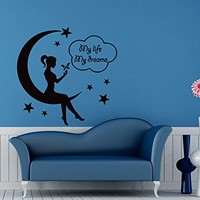 Wall Decals for Nursery Moon Dreams Decal Vinyl Sticker Home Decor Baby Bedroom Interior Window Decals Living Room Art Murals Chu1387