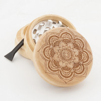 "Wood Grinder | Hamsa Flower | 2"" Custom Herb Grinder - Spirit Series"