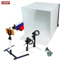 Table Top Photography Studio Light Tent Kit 40CM Photo Tent Mini Camera Stand Tripod with Cell Phone Holder LED Light BACKGROUND
