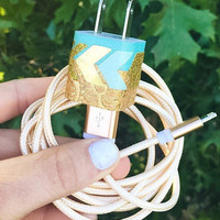 6FT Gold Teal Sparkly Chevron iphone 5 6 7 Charger