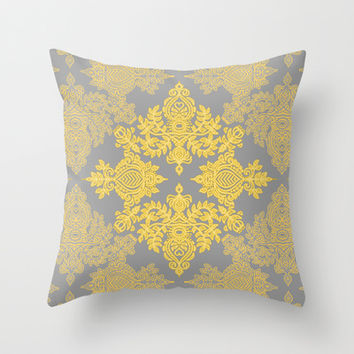 Golden Folk - doodle pattern in yellow & grey Throw Pillow by micklyn | Society6