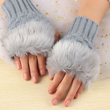 1Pair Fashion Women Faux Rabbit Fur Hand Wrist Crochet Knitted Fingerless Gloves Knitting Mittens Winter Warmer