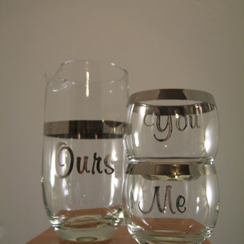 Midcentury Drink Set You Me Ours Silver Metallic Glasses