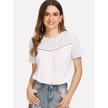 Beige Laddering Lace Insert Eyelet Embroidered Top