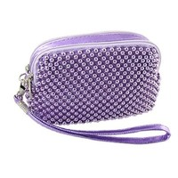 Allegra K Faux Leather Strap Light Purple Beaded Purse Bag for Lady:Amazon:Clothing