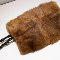 Petite Brown Mink Fur Muff, Fully Lined, Wristlet Strap, Mid Century Womans or Childs Fashion Accessory 917