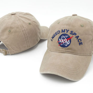 Brand Embroidery Nasa I Need My Space Baseball Cap Hip Hop Women Men Adjustable Denim Khaki Dad Hat Bone Gorras Trucket Hat Friend Khaki
