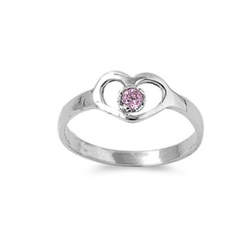 Sterling Silver October Round Pink Simulated Topaz Ring