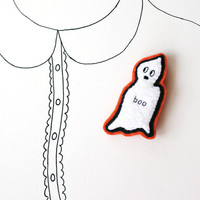 SALE - Ghost, Halloween Brooch, Halloween Jewelry, Halloween Felt Pin, Boo, Under 25