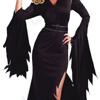 Women's Black Gothic Witch Black Evil Sorceress Witch Cosplay Dress Clubwear Adult Halloween Masquerade Party Costume Hot