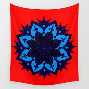 Kids Mandala Orange Wall Tapestry by Azima
