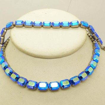 Vintage Weiss Metallic Blue AB Baguette Necklace and Bracelet