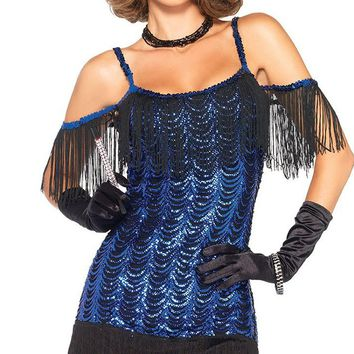 Roaring Twenties Blue Black Sequin Fringe Short Sleeve Cold Shoulder Scoop Neck Bodycon Mini Dress Halloween Costume