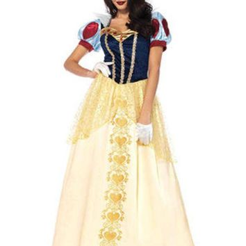 DCCKLP2 2PC.Deluxe Snow White,ball gown and matching hair bow in MULTICOLOR