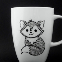fox mug in black and white, fox, fox mug, fox cup, personalized mug, woodland mug, christmas gift