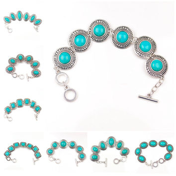 15 Styles Free Shipping Hot Jewelry Tibetan Silver Bracelet Turquoise Inlay Roundness Bead Adjust Bangle