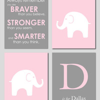 "Cyber Monday -Pink and Gray Modern Nursery Set - Winnie the Pooh Quote - Initial/Monogram - Elephant Silhouette - Set of four 8""x10""s"
