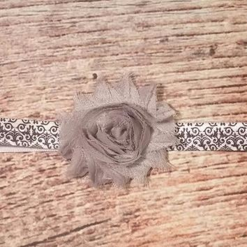 Gray and Damask Print Headband / Grey / Baby Headband / Baby Girl Headband / Girls Hair Bows / Baby Bows / Girls Headbands /