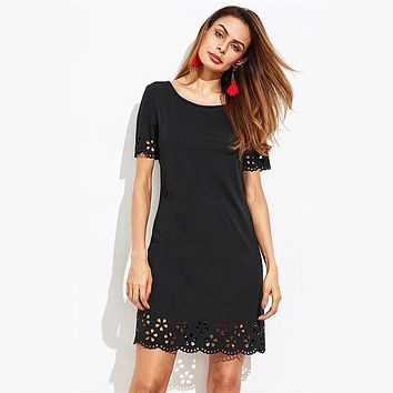 Scallop Hollowed Out Keyhole Back Dress Black Round Neck Short Sleeve Cute Dress Ladies Casual Mini Dress