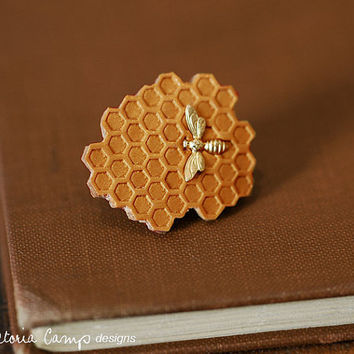 Tiny Gold Bee and Honeycomb Brooch - Clutch Pin - Ready to Ship
