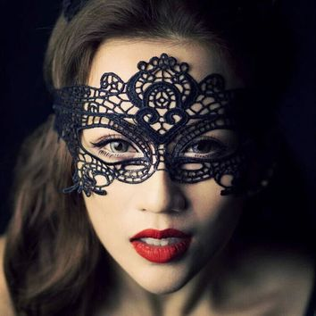 Cool 1PCS Sexy Black Lace Mask Halloween Eye Face Masks For Masquerade Party Mask Saw Hollow Nightclub Fashion Queen Female MasqueAT_93_12