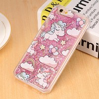 Lovely Unicorn Dynamic Liquid Bling Star Hard PC Phone Cases