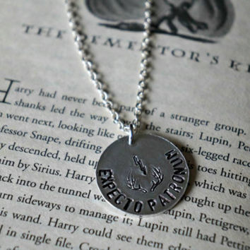 Harry Potter Inspired Expecto Patronum Patronus Necklace - Metal Stamping Hand Stamped Jewelry