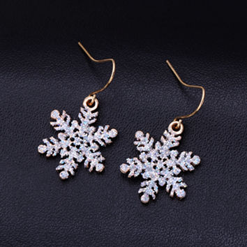 Simple snowflake earrings jewelry oorbellen for women vintage earrings boucles d'oreilles pour les femmes cute stud Earrings