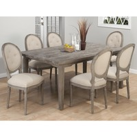 "Driftwood Grey Coastal Collection 7 Piece 72"" Rectangle Dining Set - Table 6 Button Tufted Chairs"
