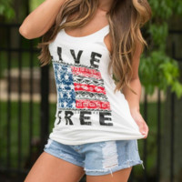 LIVE FREE Flag Printed Tank Top Vest