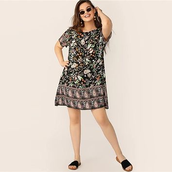 Multicolor Floral And Paisley Tunic Dress