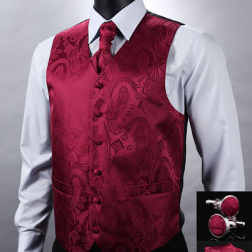 Zuzu Crochet Braids : VE07 Red Paisley Top Design Wedding Men 100%Silk Waistcoat Vest Pocket ...