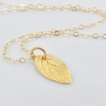 Gold Mint Leaf Charm Necklace, Nature Jewelry, Gold Leaf Jewelry, Small Simple leaf Charm, Gift For Nature Lovers, Gifts For Women