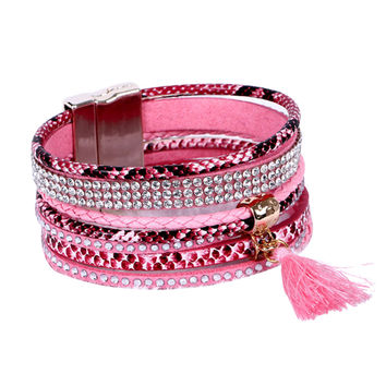 Bohemian Braided Leather Bracelet Rhinestone Cuff Wrap Bangle Magnetic Clasp For Women