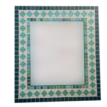 Teal Turquoise Aqua Wall Mirror, Mixed Media Mosaic, Glass Mirror, Wall Decor, Geometric Home Decor