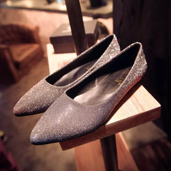 Summer Pointed Toe Gradient Flat Korean Shoes [6366207684]