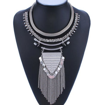 Silver Vintage Triangle Coin Tassel Necklace