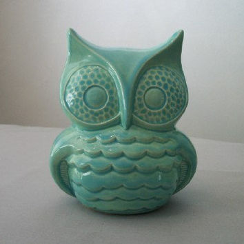 Turquoise Ceramic Owl Decor for Home or Garden