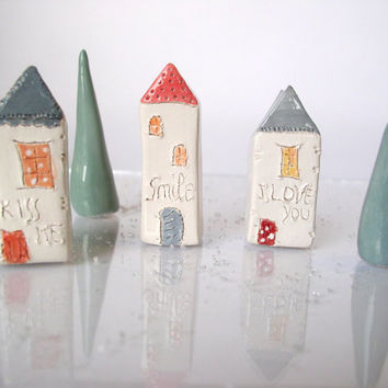 I love you...My little Clay House - Handmade miniature ceramics sculptures