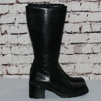 90s chunky platform boots US 9 leather knee high black grunge punk cyber goth boho festival hipster minimalist shoes gypsy