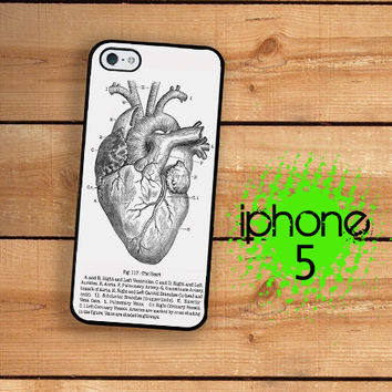 Vintage Medical Anatomical Heart Diagram iPhone 5S Case | iPhone 5 Hard Case For iPhone 5 Gothic Styling Plastic or Rubber Trim