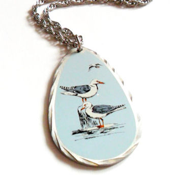 Seagull Pendant Necklace Transfer Print Pewter Blue Sea Gull Bird Vintage Chain