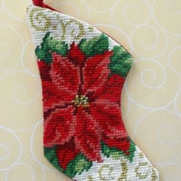 Christmas Poinsettia Stocking Needlepointed Ornament