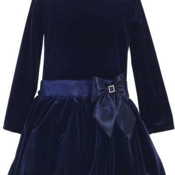 Navy Blue Velvet Drop Waist Girls Holiday Dress w. Bubble Hem 2T-10