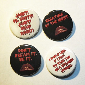 "Rocky Horror Picture Show inspired 1.5"" pinback button 4 pack."