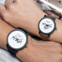 Awesome Trendy Gift Designer's Good Price Stylish New Arrival Great Deal Korean Dial Couple Vintage Watch [6050485377]