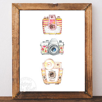 Vintage camera print, retro, wall art, photographer gift, poster, camera art, camera poster, camera, home decor, camera print, camera art