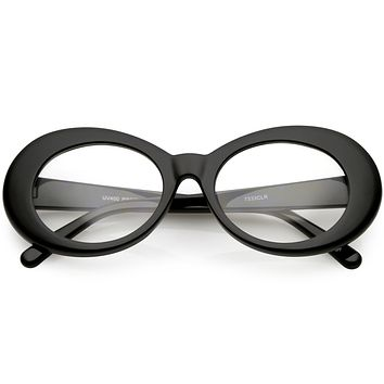 Retro 1990's Fashion Clear Lens Clout Oval Glasses C540