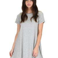 Lyss Loo Reporting For Cutie Grey T-Shirt Tunic Dress